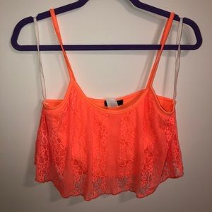Neon orange lace crop tank top